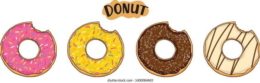 Set top view donuts. Hand drawing bakery-style donut illustrations - Vector Illustration