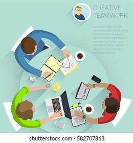 Set of top view flat design vector office people different characters, styles and professions. Creative teamwork process, diverse acting poses front and back view collection