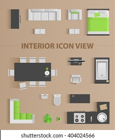 Set top view for interior icon design. Isolated Vector Illustration. Flat interior top view icon