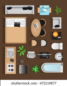 designer office desk isolated objects top view. Set Top View For Interior Icon Design. Isolated Vector Illustration. Modern Black Furniture Designer Office Desk Objects A