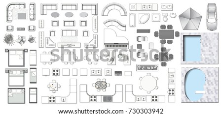 Set Top View Interior Icon Design Stock Vector Royalty Free