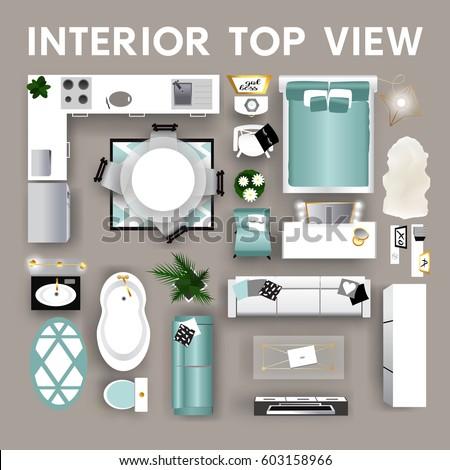 Set Top View Interior Modern Interior Stock Vector Royalty Free