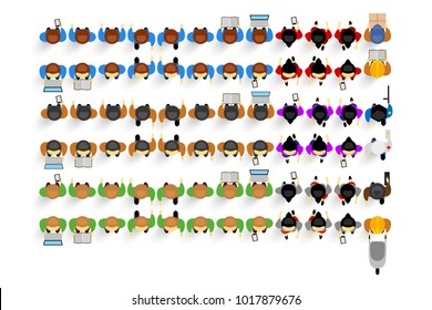 Set of top view people, different poses, vector citizens