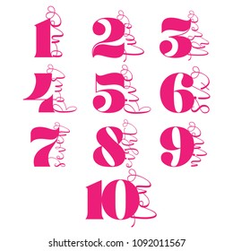 Set of toppers for birthday and anniversary. Number 1, 2, 3, 4, 5, 6, 7, 8, 9, 10. good for cake topper, good for scrap booking, posters, textiles, gifts, wedding sets.