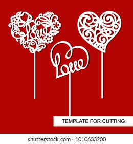 Set of toppers.  Hearts. Decoration for Valentine's Day. Template for laser cutting, wood carving, paper cut and printing.