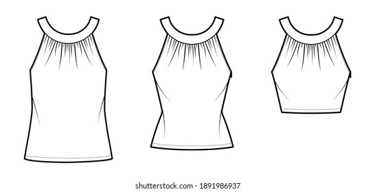 Set of Tops rounded neck band tank technical fashion illustration with ruching, fitted oversized body, tunic and waist length hem, button keyhole. Flat template front white color. Women men CAD mockup