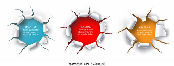 Set of torn holes with ripped edges in the sheet of white paper. Vector background with place for text