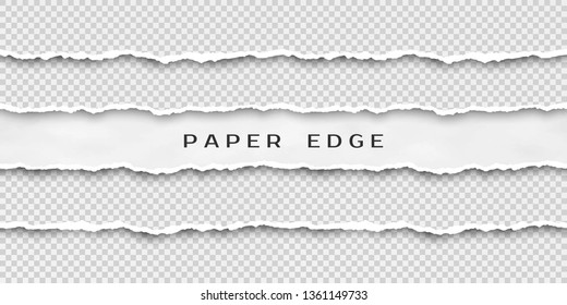 Set of torn horizontal seamless paper stripes. Paper texture with damaged edge isolated on transparent background. Vector illustration