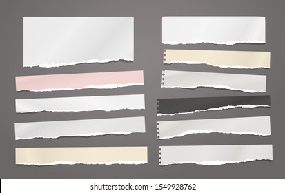 Set of torn horizontal white and colorful, note notebook paper strips and pieces stuck on dark background. Vector illustration
