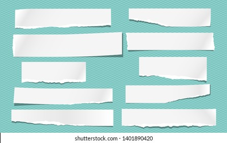 Set of torn note, notebook white paper strips stuck on turquoise background. Vector illustration