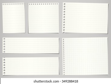 Set of torn notebook papers with lines and grid on gray background