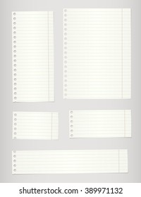 Set of torn notebook papers with lines and on gray background