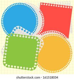 Set of torn paper memo sticker, template, frame, border, school background.