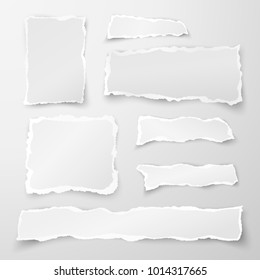 Set of torn paper pieces. Scrap paper. Object strip with shadow isolated on gray background. Vector illustration
