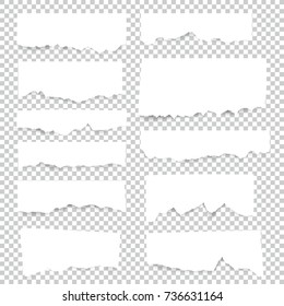 Set of torn paper sheets. Vector note pieces collection with sticky tape