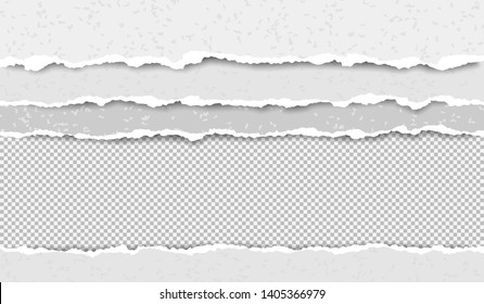 Set of torn, ripped blank grainy paper strips with soft shadow are on squared background. Vector template illustration