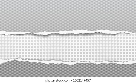 Set of torn, ripped, squared paper strips with soft shadow are on background. Vector template illustration