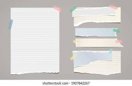 Set of torn white, colorful note, notebook paper pieces stuck on dark grey background. Vector illustration