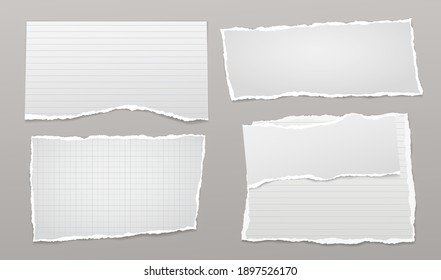 Set of torn white lined, math note, notebook paper pieces stuck on grey background. Vector illustration