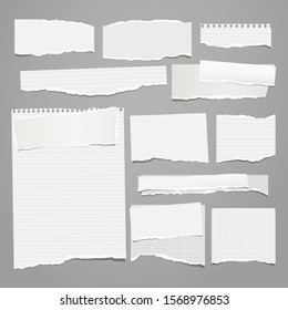 Set of torn white, lined and squared note, notebook paper pieces, reminder tapes stuck on grey background. Vector illustration