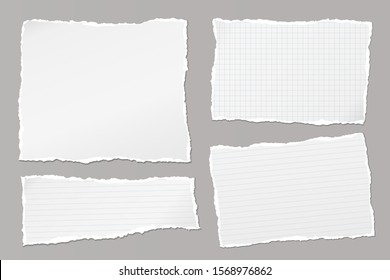 Set of torn white, lined and squared note, notebook paper pieces stuck on grey background. Vector illustration