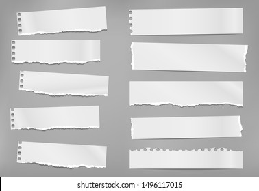 Set of torn white note, notebook paper strips and pieces with soft shadow stuck on grey background. Vector illustration