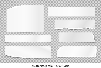 Set of torn white note, notebook paper pieces, reminder tapes stuck on grey squared background. Vector illustration