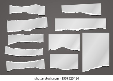 Set of torn white note, notebook paper pieces, reminder tapes stuck on dark background. Vector illustration
