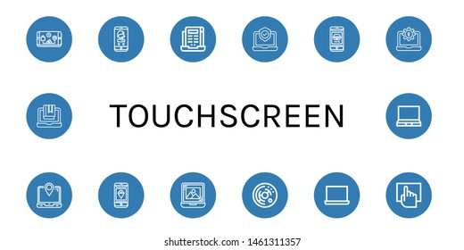 Set of touchscreen icons such as Phone, Laptop, Cell, Touchscreen , touchscreen
