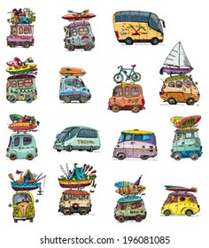 set of tour bus - vintage - cartoon