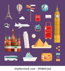 Set of Tourism Concept Illustrations and Icons. Vacation Flat Style Vector Icons. Sights of the World