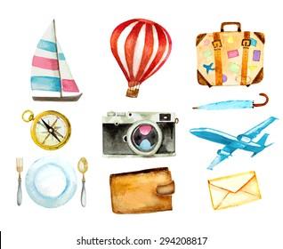 set of tourism icons. watercolor hand drawn vector illustration. sailboat, hot air balloon, luggage, umbrella, airplane, camera, compass, mail, wallet and food symbols
