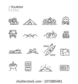 Set of tourism thin line icons. Eps 10 vector illustration.