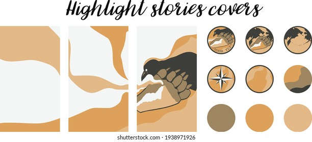 Set for tourist advertising of travel to the regions of Kamchatka or Alaska. The image shows a Raven, a bear trail and a smoking hill or volcano. Vector image of eternal stories, covers.