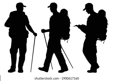 Set of tourist with backpack for hiking silhouette vector on white background, people