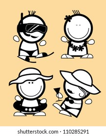 Set of tourist funny peoples icons.