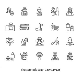 Set of tourist Related Vector Line Icons. Includes such Icons as travel, vacation, tour, photo, vacation, hike, sightseeing, Safari, map, camp and more. - vector