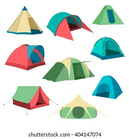 Set of tourist tents icon. Collection camping tent icon. Vector illustration eps10