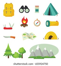 Set of tourist/hunter gear icons and symbols - camping items, knife, backpack, matches, binoculars, map, compass, flashlight, mountains, woods. Flat style vector design elements.Vector illustration.