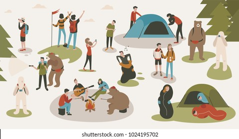 Set of tourists or backpackers pitching tent, hiking, sitting around bonfire, singing songs and playing guitars at camping or forest camp. Backpacking trip or expedition. Cartoon vector illustration.