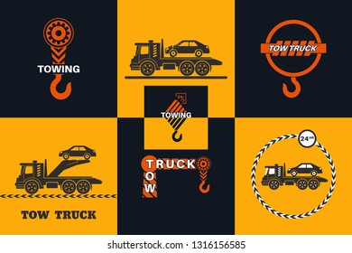 Set of Tow truck icon. Round the clock evacuation of cars. Design can be used as a logo, a poster, advertising, singboard. Vector element of graphic design