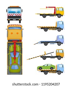 Set of tow trucks with sliding platform, hydraulic manipulator, crane. Technic for transportation of cars to service, parking, in case accident, breakage, road traffic accident. Vector illustration.