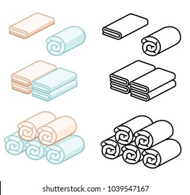 Set of towel soft color vector illustration. roll for spa, kitchen, bath and other.Towel icon isometric.Stack fluffy kitchen Towel. rolled into a roll or scroll.cartoon folded vector towels set.
