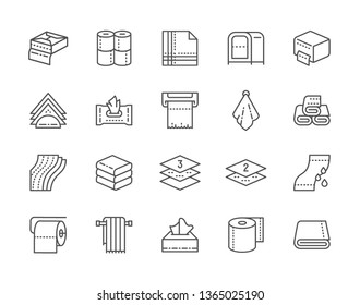 Set of Towels and Napkins Line Icons. Wet Wipes Package, Toilet Rolls, Napkin Holder, Paper Towel Dispenser, Hand Dryer and more. Pack of 48x48 Pixel Icons