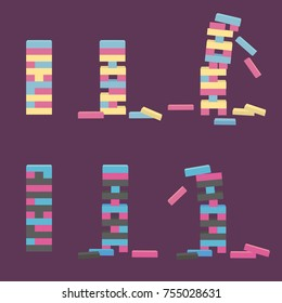 Set of tower game. Wooden stack block toy. Different positions. Vector illustration isolated on purple background.
