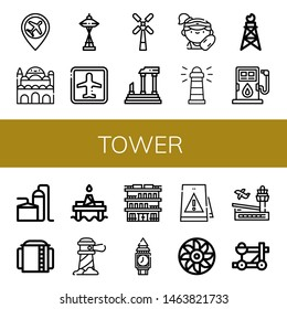 Set of tower icons such as Airport, Cairo citadel, Windmill, Parthenon, Lifeguard, Lighthouse, Pumpjack, Fuel, Storage tank, Oil platform, Building, Clock tower