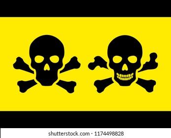 Set Toxic safety Hazard Danger Harmful Malware Virus  sign illustration isolated on background Vector Icon