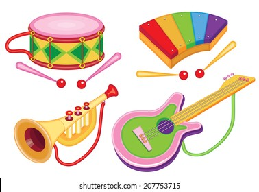 set of toy musical instruments (vector illustration)