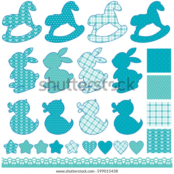 Set with toys - horses, rabbits, hearts and stars, isolated on white background. Newborn boy blue color elements. Design for baby shower, card, invitation, etc.