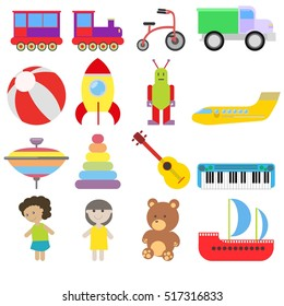 set of toys. Train, train, bike, car, ball, rocket, robot aircraft, whirligig, pyramid, guitar, synthesizer, doll, teddy bear, ship. vector illustration, flat style. design elements
